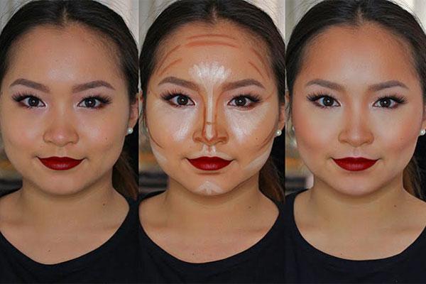 کانتور کردن بینیهای پهن برای لاغر شدن صورت