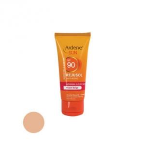 کرم ضد آفتاب spf90 آردن مناسب پوست معمولی و خشک رنگ بژ هلویی به عنوان بهترین ضد آفتاب ضد لک و محافظ پوست
